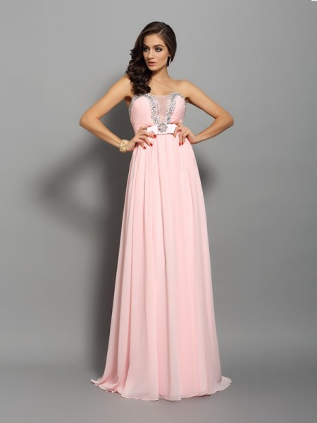 A-Line/Princess Sleeveless Beading Sweep/Brush Train Sweetheart Chiffon Dresses