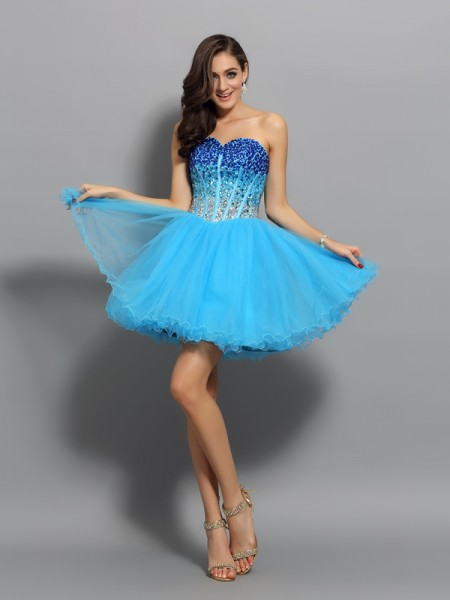 A-Line/Princess Sleeveless Ruffles Short/Mini Sweetheart Satin Cocktail Dresses