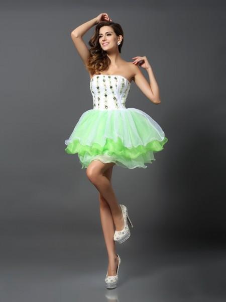 A-Line/Princess Sleeveless Ruffles Short/Mini Strapless Organza Cocktail Dresses
