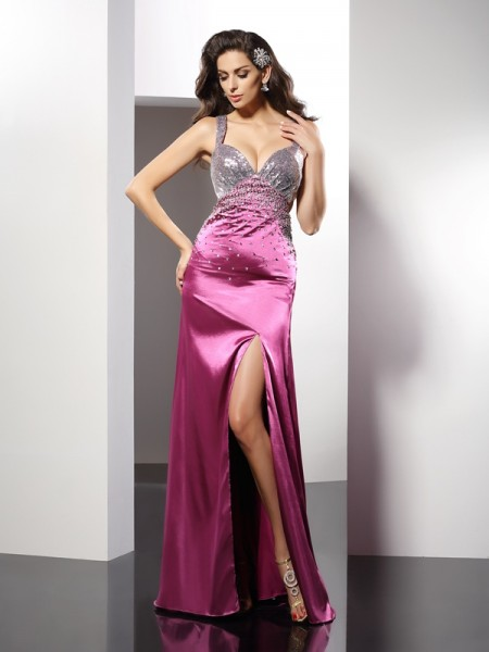 A-Line/Princess Sleeveless Beading Floor-Length Straps Elastic Woven Satin Dresses