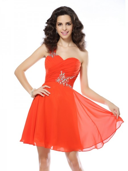 A-Line/Princess Sleeveless Beading Short/Mini One-Shoulder Chiffon Cocktail Dresses