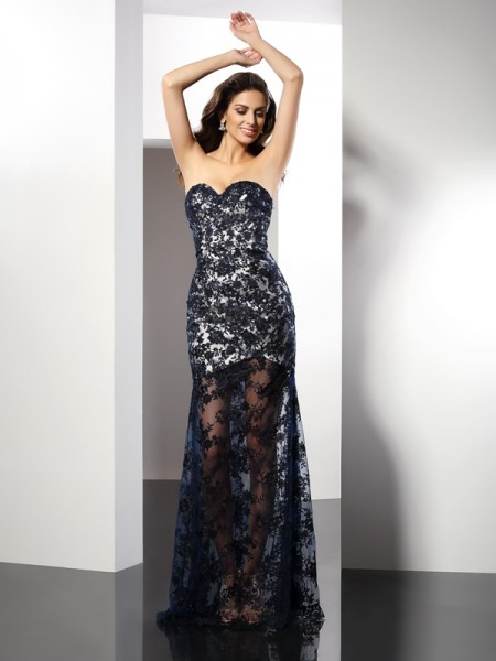 Sheath/Column Sleeveless Lace Floor-Length Sweetheart Satin Dresses