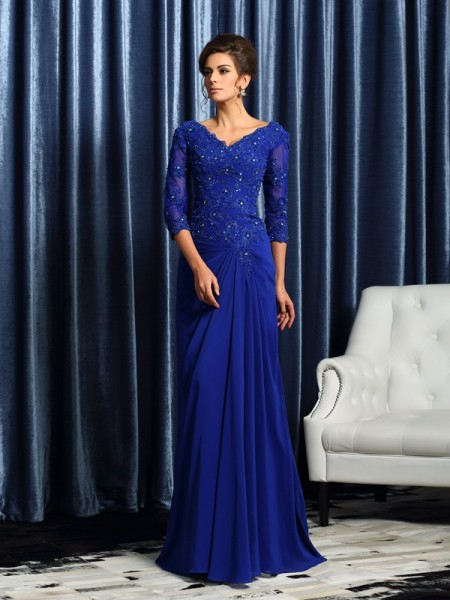 A-Line/Princess 3/4 Sleeves Applique Sweep/Brush Train V-neck Chiffon Mother of the Bride Dresses