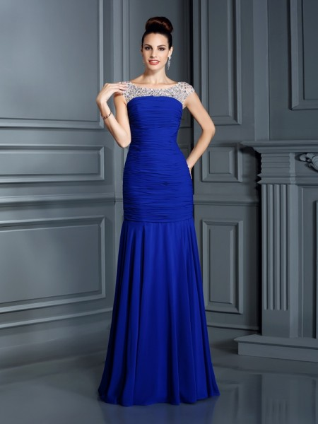 Trumpet/Mermaid Sleeveless Beading Floor-Length Scoop Chiffon Dresses