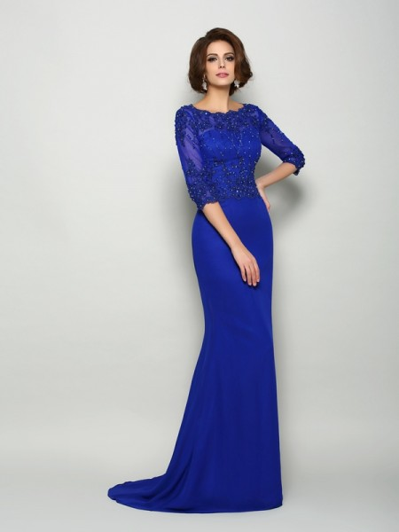 Trumpet/Mermaid 3/4 Sleeves Beading Applique Sweep/Brush Train Scoop Chiffon Mother of the Bride Dresses