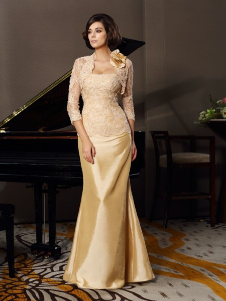 Trumpet/Mermaid Sleeveless Lace Floor-Length Sweetheart Taffeta Mother of the Bride Dresses