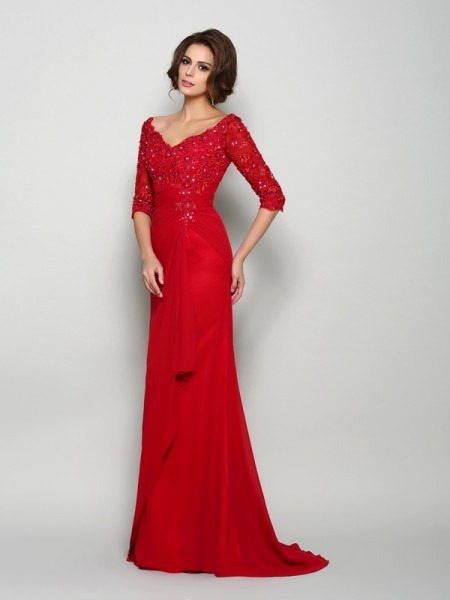 A-Line/Princess 1/2 Sleeves Beading Applique Sweep/Brush Train V-neck Chiffon Mother of the Bride Dresses