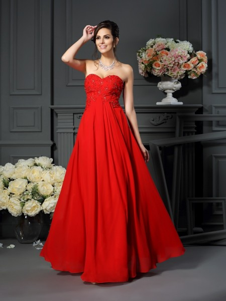 A-Line/Princess Sleeveless Beading Floor-Length Sweetheart Chiffon Mother of the Bride Dresses