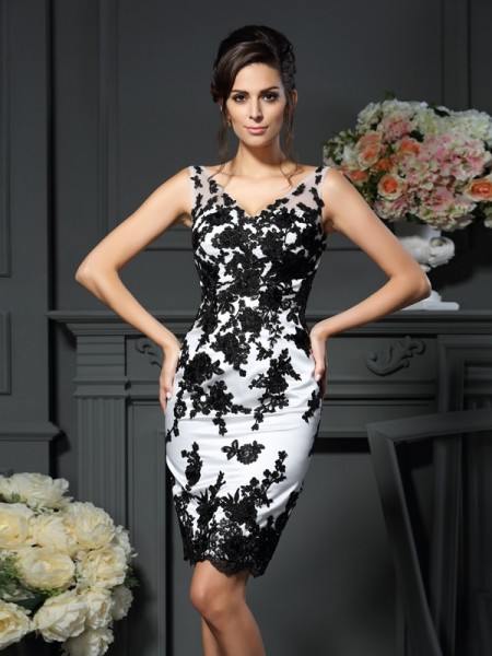 Sheath/Column Sleeveless Applique Knee-Length V-neck Satin Mother of the Bride Dresses
