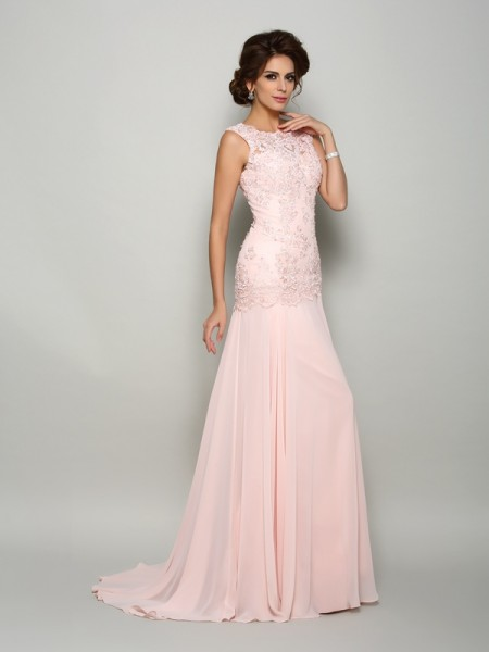 Trumpet/Mermaid Sleeveless Beading Applique Sweep/Brush Train Scoop Chiffon Mother of the Bride Dresses