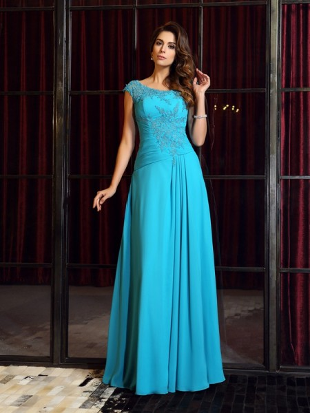 A-Line/Princess Sleeveless Applique Floor-Length Scoop Chiffon Dresses