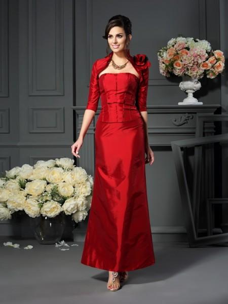 A-Line/Princess Sleeveless Hand-Made Flower Ankle-Length Strapless Taffeta Mother of the Bride Dresses