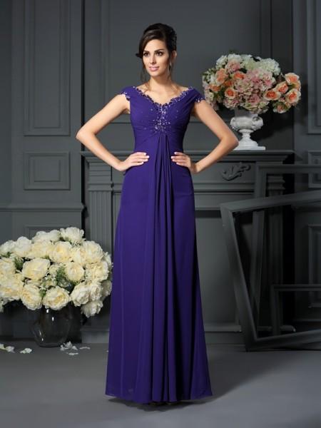 A-Line/Princess Sleeveless Beading Floor-Length V-neck Chiffon Mother of the Bride Dresses