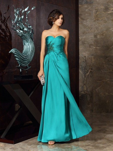 Sheath/Column Sleeveless Beading Applique Floor-Length Sweetheart Chiffon Mother of the Bride Dresses