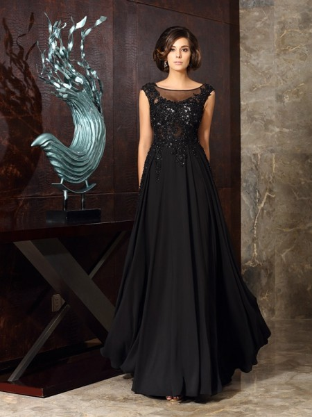 A-Line/Princess Sleeveless Applique Floor-Length Scoop Chiffon Mother of the Bride Dresses