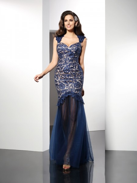 Trumpet/Mermaid Sleeveless Lace Sweep/Brush Train Sweetheart Net Dresses