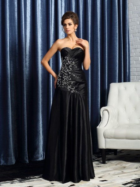 A-Line/Princess Sleeveless Beading Applique Floor-Length Sweetheart Satin Mother of the Bride Dresses