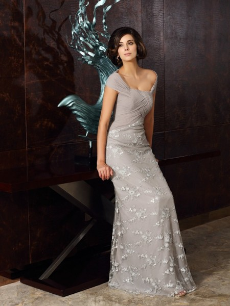 A-Line/Princess Sleeveless Applique Floor-Length Off-the-Shoulder Chiffon Mother of the Bride Dresses