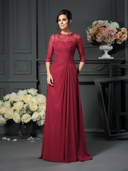 A-Line/Princess 1/2 Sleeves Applique Floor-Length Scoop Chiffon Mother of the Bride Dresses