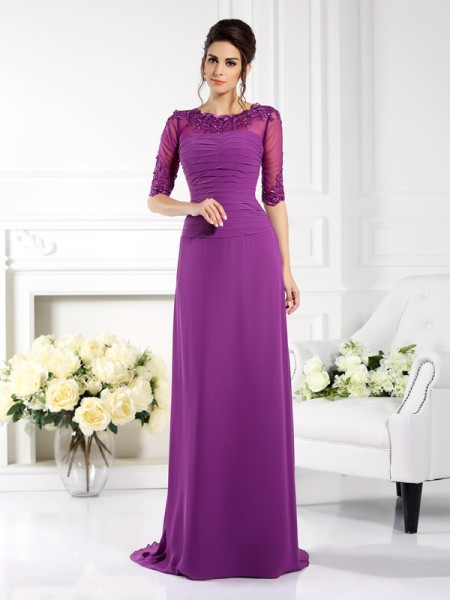 Sheath/Column 1/2 Sleeves Applique Sweep/Brush Train Scoop Chiffon Dresses