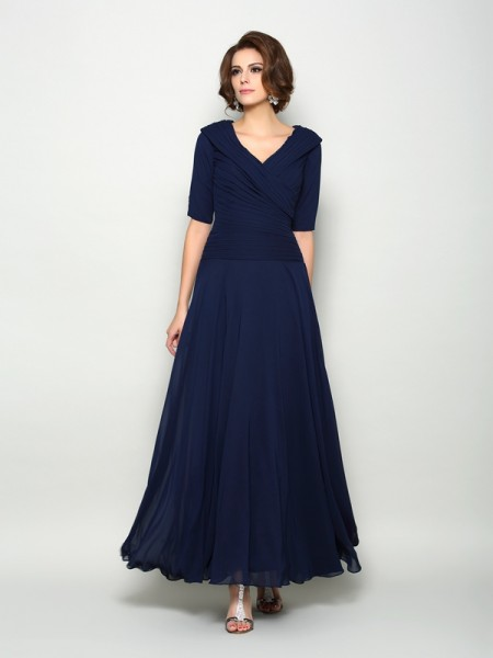 A-Line/Princess 1/2 Sleeves Ankle-Length V-neck Chiffon Mother of the Bride Dresses