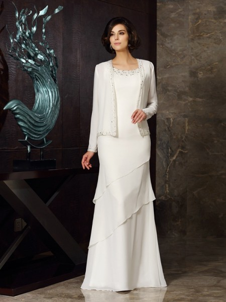 Sheath/Column Sleeveless Beading Floor-Length Scoop Chiffon Mother of the Bride Dresses