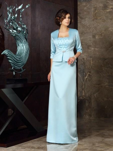 Sheath/Column Sleeveless Floor-Length Strapless Satin Mother of the Bride Dresses