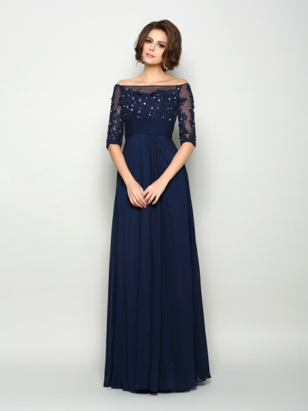 A-Line/Princess 1/2 Sleeves Beading Floor-Length Off-the-Shoulder Chiffon Mother of the Bride Dresses