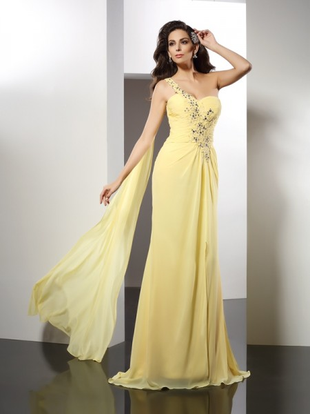 A-Line/Princess Sleeveless Beading Floor-Length One-Shoulder Chiffon Dresses