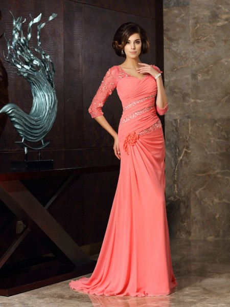 Trumpet/Mermaid 1/2 Sleeves Sweep/Brush Train Sweetheart Chiffon Mother of the Bride Dresses