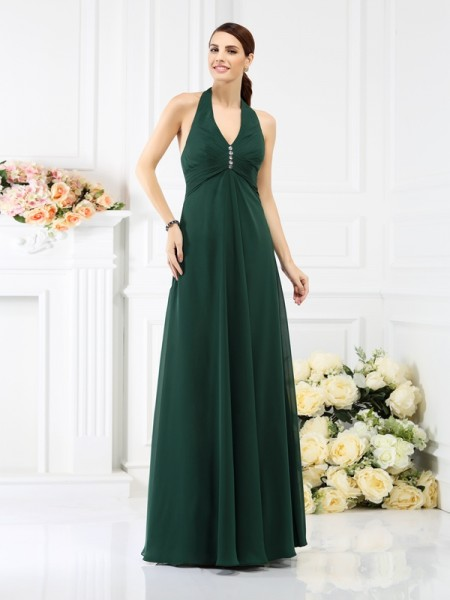 A-Line/Princess Sleeveless Beading Floor-Length Halter Chiffon Bridesmaid Dresses