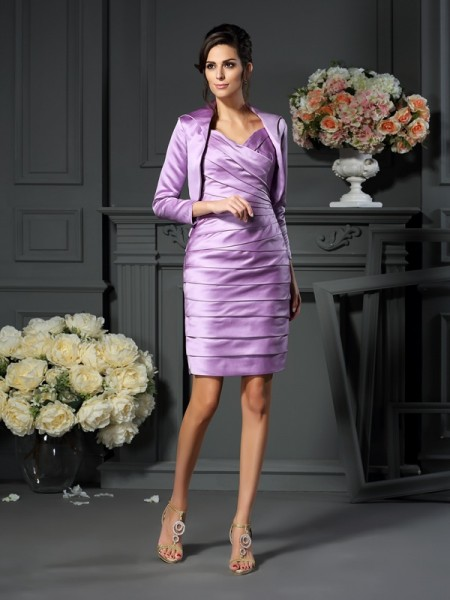 Sheath/Column Sleeveless Ruched Knee-Length Straps Satin Mother of the Bride Dresses