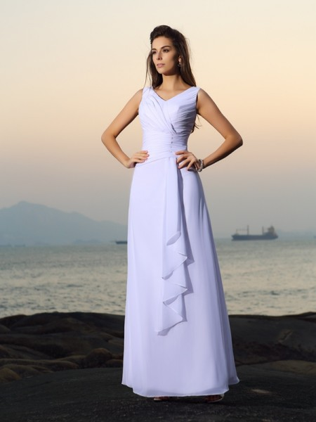 A-Line/Princess Sleeveless Pleats Beading Floor-Length V-neck Chiffon Wedding Dresses