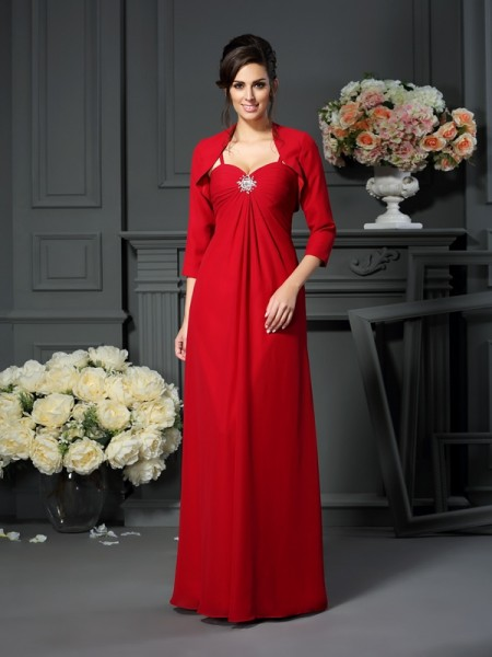 A-Line/Princess Sleeveless Beading Floor-Length Spaghetti Straps Chiffon Mother of the Bride Dresses