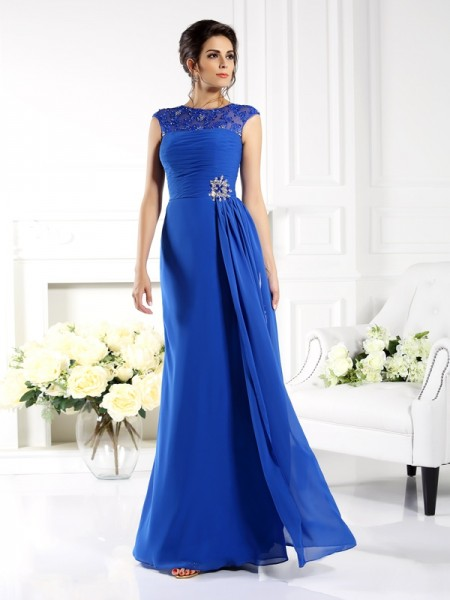 A-Line/Princess Sleeveless Applique Floor-Length Bateau Chiffon Dresses