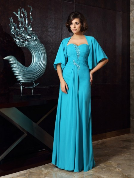 Sheath/Column Sleeveless Beading Floor-Length Sweetheart Chiffon Mother of the Bride Dresses