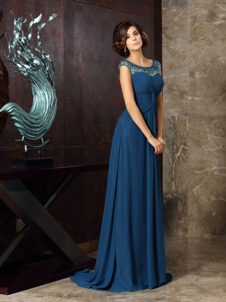 A-Line/Princess Sleeveless Beading Sweep/Brush Train Scoop Chiffon Mother of the Bride Dresses