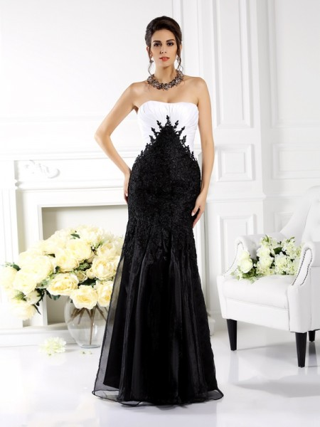 Trumpet/Mermaid Sleeveless Applique Floor-Length Strapless Tulle Dresses