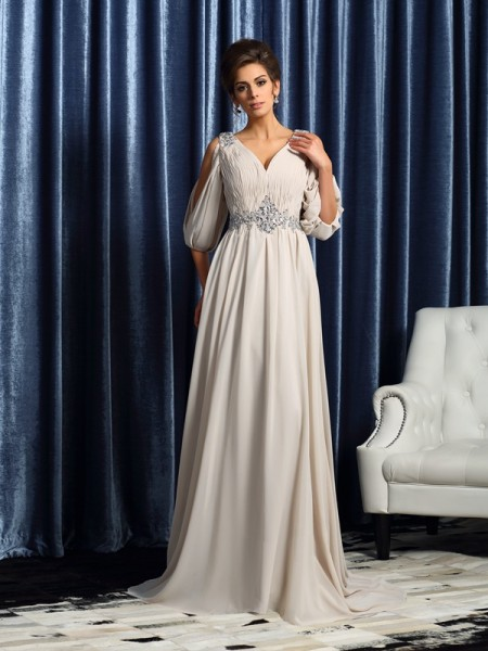 A-Line/Princess 1/2 Sleeves Beading Court Train V-neck Chiffon Mother of the Bride Dresses