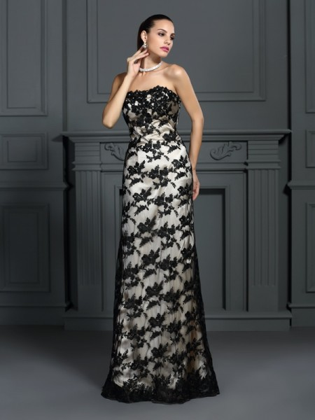 Sheath/Column Sleeveless Lace Sweep/Brush Train Strapless Elastic Woven Satin Dresses