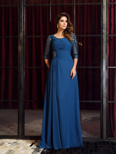 A-Line/Princess 1/2 Sleeves Ruched Floor-Length Square Chiffon Dresses