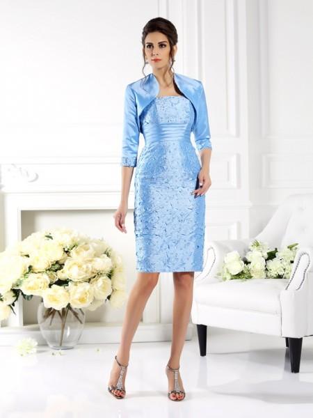 Sheath/Column Sleeveless Knee-Length Straps Taffeta Mother of the Bride Dresses