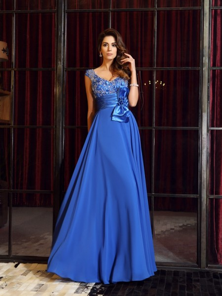 A-Line/Princess Sleeveless Floor-Length Hand-Made Flower Chiffon Straps Dresses