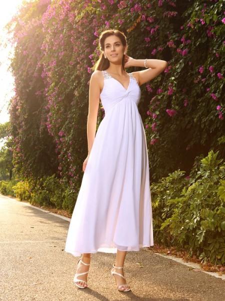 A-Line/Princess Sleeveless Ankle-Length Beading Chiffon V-neck Wedding Dresses