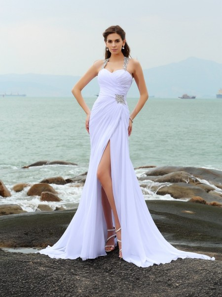 Sheath/Column Sleeveless Chapel Train Beading Chiffon Straps Wedding Dresses