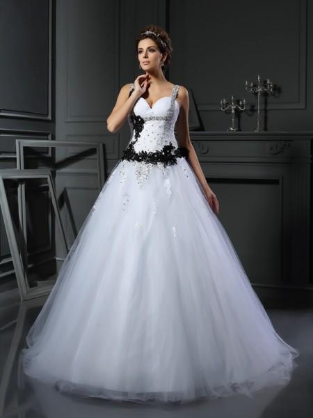 Ball Gown Sleeveless Chapel Train Beading,Applique Tulle Straps Wedding Dresses