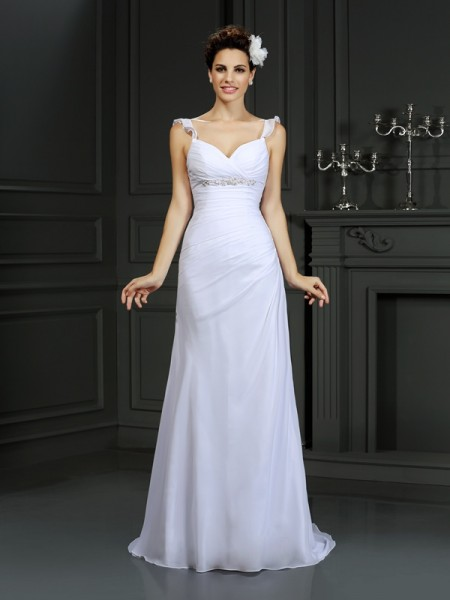Trumpet/Mermaid Sleeveless Court Train Beading Chiffon Straps Wedding Dresses