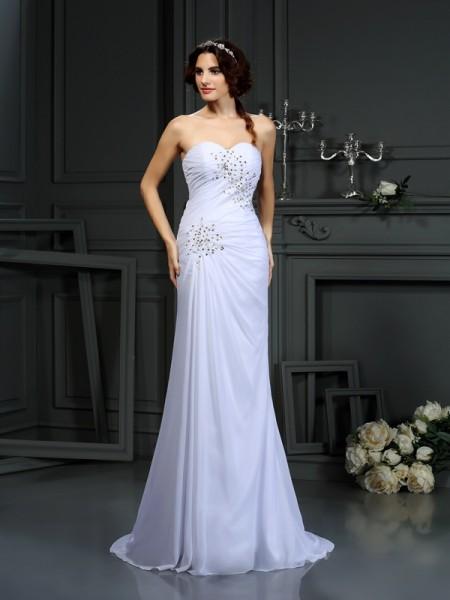 Sheath/Column Sleeveless Sweep/Brush Train Beading Chiffon Sweetheart Wedding Dresses