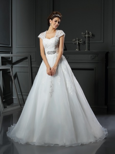 Ball Gown Sleeveless Chapel Train Beading,Applique Organza Square Wedding Dresses