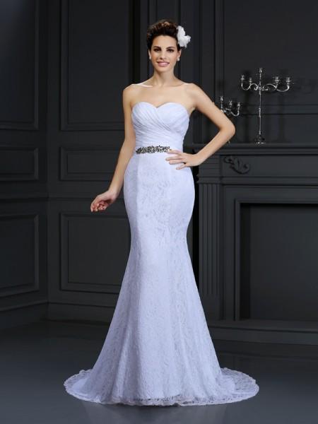 Trumpet/Mermaid Sleeveless Chapel Train  Lace Sweetheart Wedding Dresses